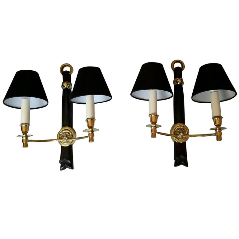 Neoclassical Pair of Sconces by Andre Arbus, France, 1950s For Sale