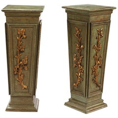 Pair Italian Neoclassical Style Green Painted Pedestals