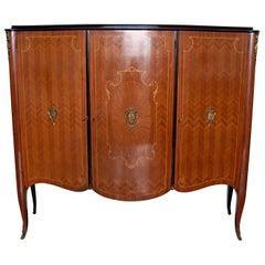Leopoldo Malberti Mid-Century Modern Italian Walnut Bar Cabinet, 1950s