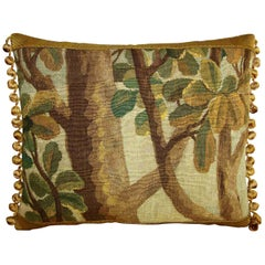 Antique Brussels Tapestry Pillow, circa 17th Century 1726p