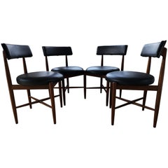 Midcentury Teak and Black Vinyl Dining Chairs by Victor Wilkins for G-Plan
