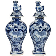 Blue and White Delft Mantle Vases Antique Dutch in Stock