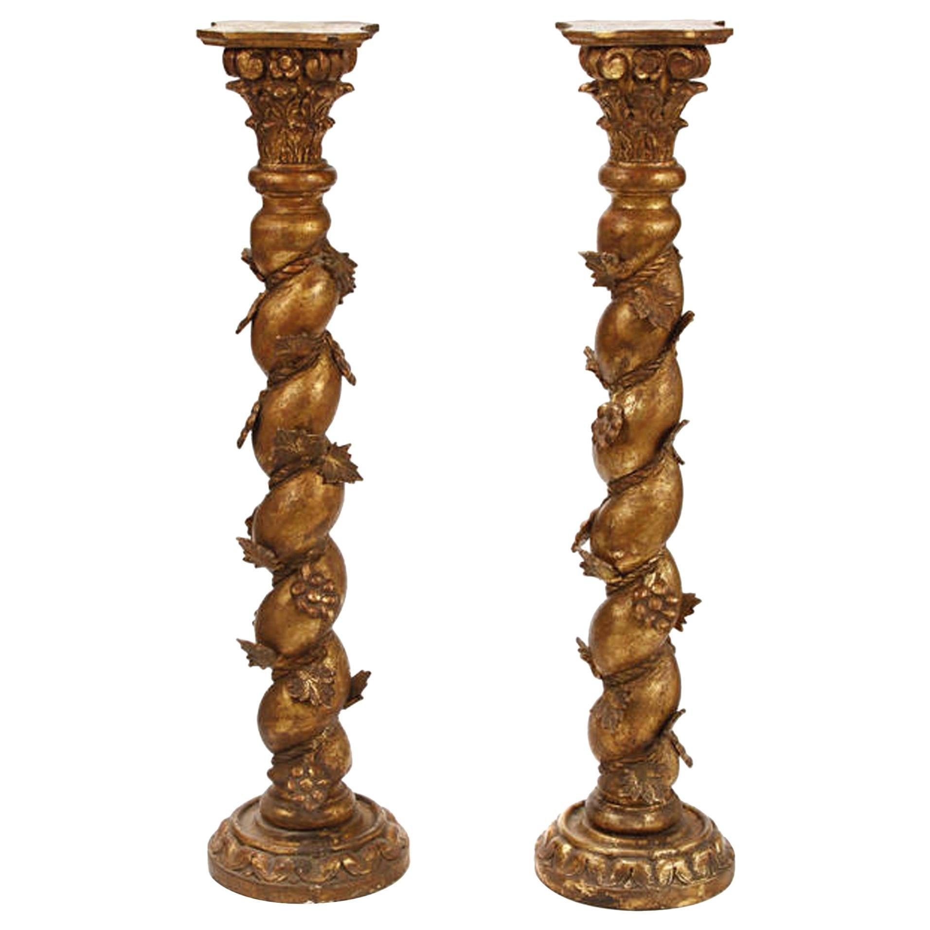 Pair of Italian Baroque Style Giltwood Column Pedestals