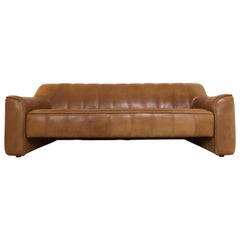De Sede DS-44 Vintage Thick Buffalo Neck, Leather Lounge 3-Seat Sofa, 1970s