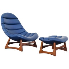 Rare Leather Lounge Chair and Ottoman by Adrian Pearsal