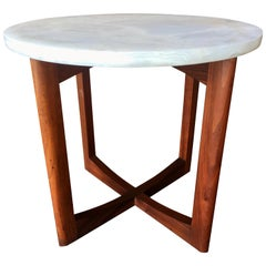 Midcentury Walnut and Onyx Side Table