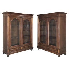 Pair of Antique French Louis XVI Walnut Bookcases