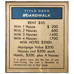 Vintage Monopoly Boardwalk Title Deed Lithograph