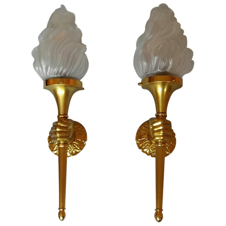 Neoclassical Pair of Big Gilt Bronze Sconces by Maison Bagues, France, 1960s For Sale
