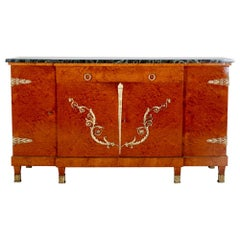 Exceptional Quality French Amboyna Empire Buffet Sideboard from Paris.