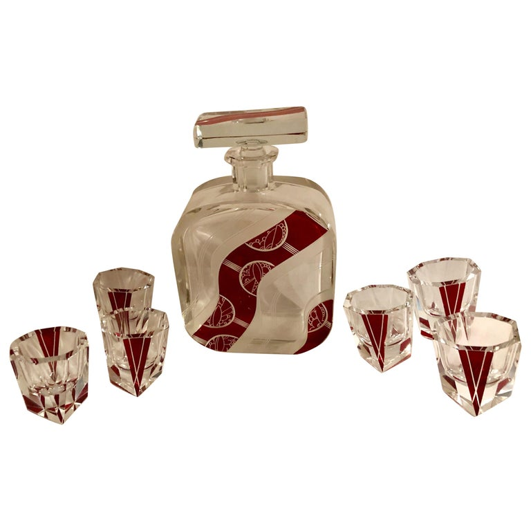 Art Deco Decanter Set in Red and Clear Czech Crystal For Sale