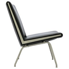 "Hans J. Wegner ""Airport"" Lounge Chair in Black Leather and Steel"