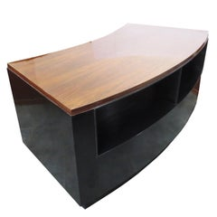 Art Deco Desk in Walnut and Black Lacquer