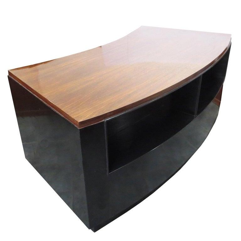 Art Deco Desk in Walnut and Black Lacquer For Sale