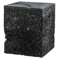 Black Rock Side Table/Table Base Aluminum Foam by Michael Young
