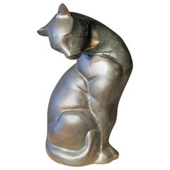 Japanese Big Hand Cast Bronze Cat Charming Art Deco Lines and Fine Details