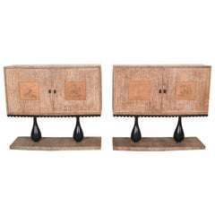 Pair of Sideboards in Art Deco Waxed Oak, One is a Dry Bar, Italy, 1940s