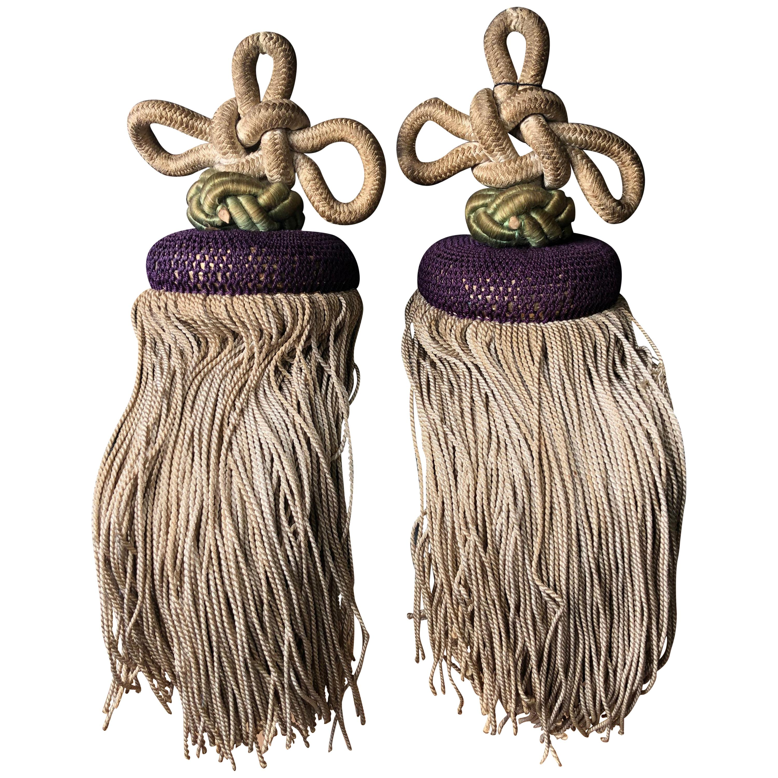 Japanese Fine Pair of Antique Hand Woven Silk Tassels, Handcrafted Gorgeous
