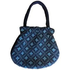 "Japanese Fine Vintage Blue Beaded ""Floral"" Ladies Purse Gorgeous Handcrafted Gem"