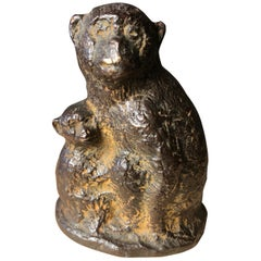 Japan Fine Antique Monkey Family Bronze, Signed Early Gem