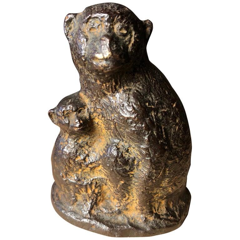 Japan Fine Antique Monkey Family Bronze, Signed Early Gem For Sale