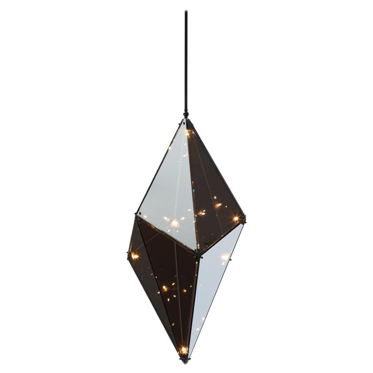 Maxhedron Vertical Pendant Light in Bronze by Bec Brittain for Roll & Hill For Sale