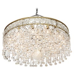 French Crystal Ball Deco Chandelier