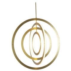 Halo Vertical Chandelier in Brass by Paul Loebach for Roll & Hill