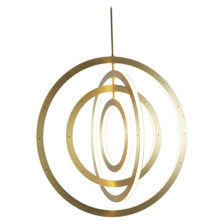 Halo Vertical Chandelier in Brass by Paul Loebach for Roll & Hill For Sale
