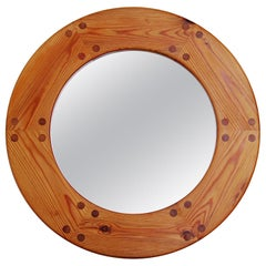 Round Swedish Wall Mirror in Pine by Luxus, 1960s