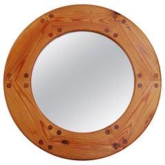Round Swedish Wall Mirror in Pine, 1960s