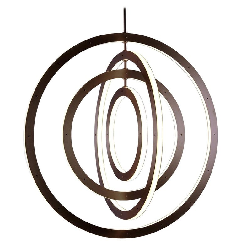 Halo Vertical Chandelier in Bronze by Paul Loebach for Roll & Hill For Sale