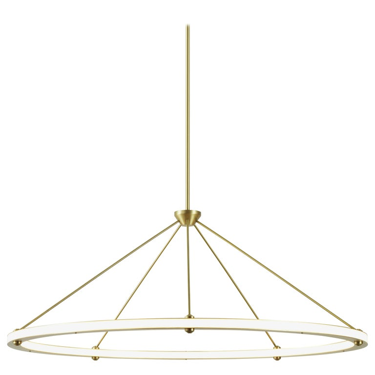 Halo Circle Pendant Light in Brass by Paul Loebach for Roll & Hill For Sale