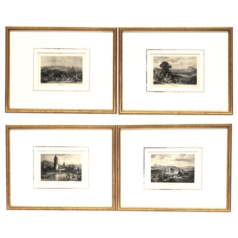 Set of Four Framed German Copper Engravings City Views Landscapes