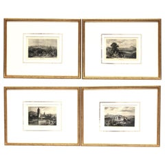 Set of Four Framed German Copper Engravings City Views Landscapes