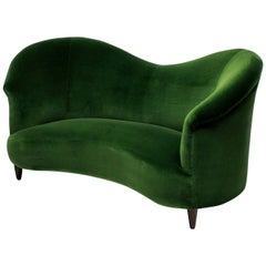 Rare Sculptural Parisi Sofa in Emerald Velvet