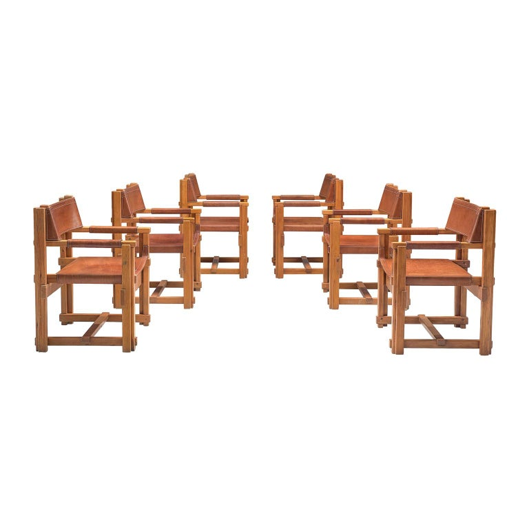 Joan Pou Set of Six Rationalist Armchairs in Pine and Cognac Leather For Sale