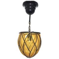 Iron and Amber Bubble Glass Hall Lantern Pendant, German, 1960s