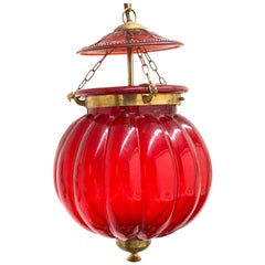 Oriental Style Red Glass and Brass Hall Lantern Pendant, German 1960s