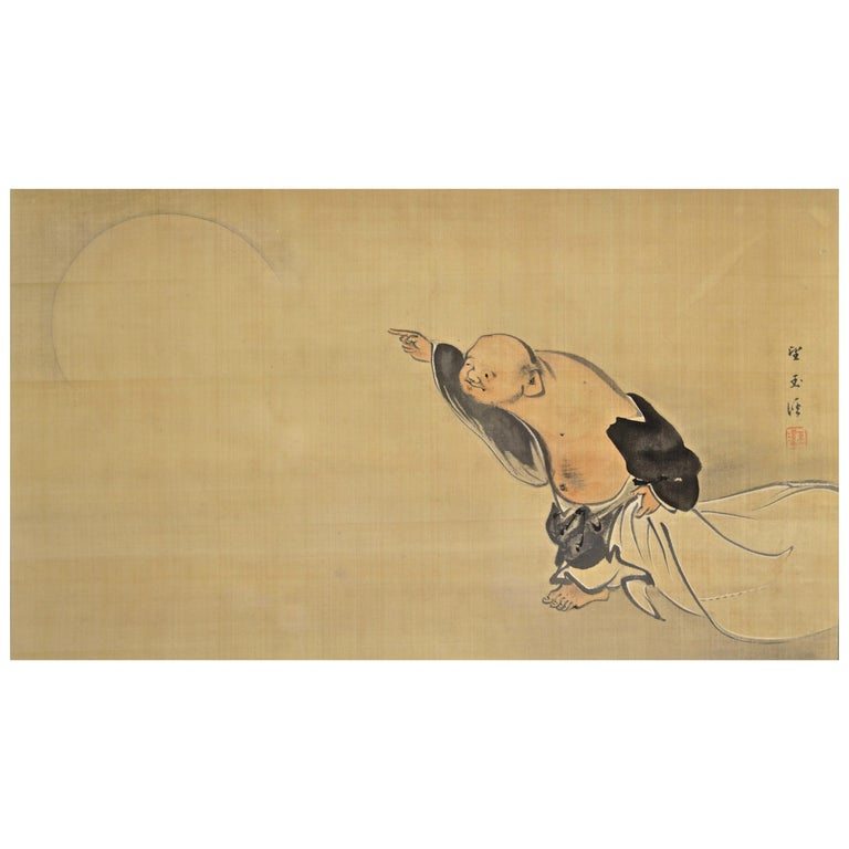 """Painting """"Hotei Pointing at the Moon"""" by Mochizuki Gyokkei '1874-1939' For Sale"""