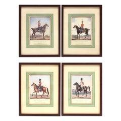 Set of Four Framed British Officers on Horse L. Mansion drawings printed Spooner