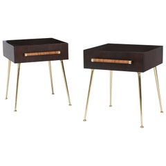 T. H. Robsjohn-Gibbings Night Stands on Brass Legs
