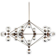 Modo 21-Globe Chandelier in Bronze and Clear by Jason Miller for Roll & Hill