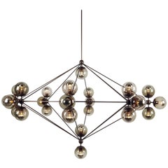 Modo 27-Globe Chandelier in Bronze and Smoke by Jason Miller for Roll & Hill