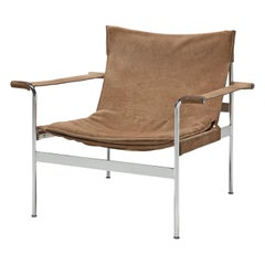 "Hans Könecke ""Sling"" Lounge Chair in Beige Suede"