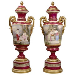 Large Pair of Magenta Ground Vienna Porcelain Exhibition Vases, circa 1900