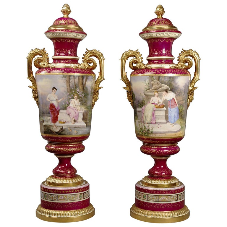 Large Pair of Magenta Ground Vienna Porcelain Exhibition Vases, circa 1900 For Sale