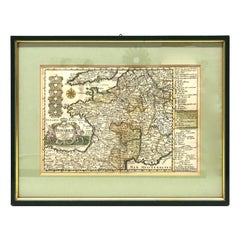 1970s Framed Antique Map of France, France, 1740s Original