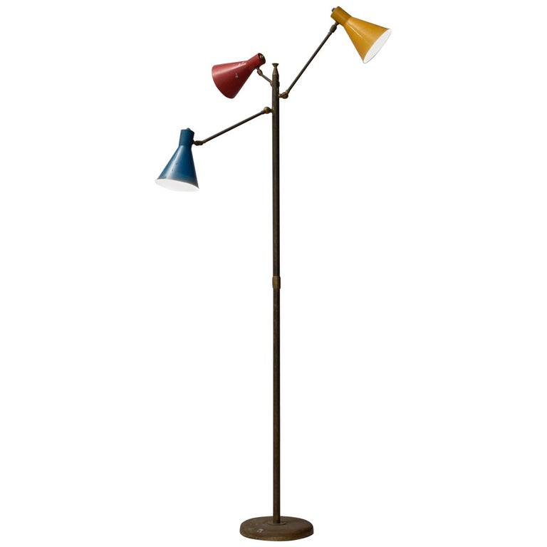 Italian Floor Lamp With Colored Shades