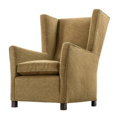 Art Deco Wingback Chair with Mustard Colored Upholstery